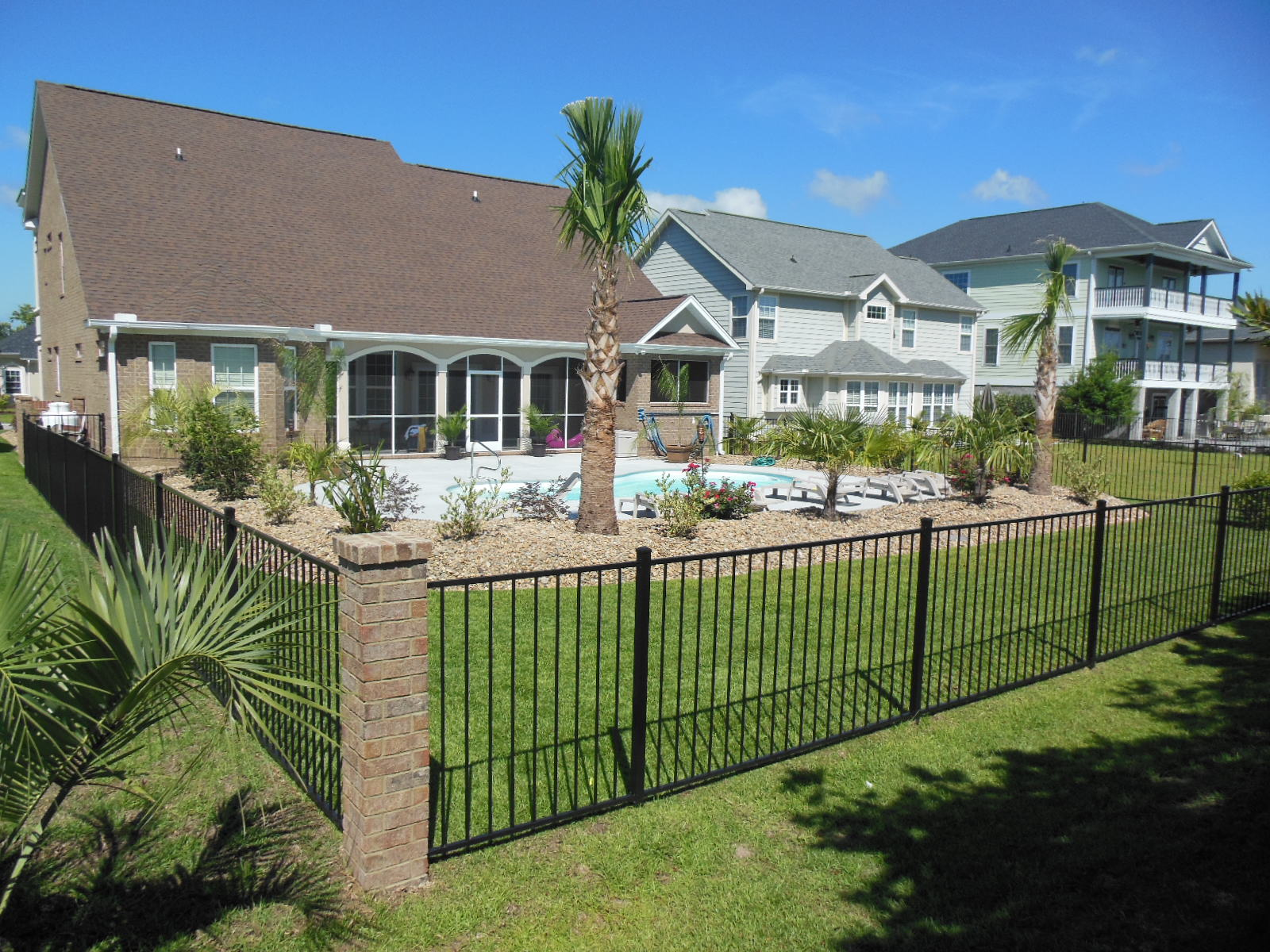 Aluminum fence with pool