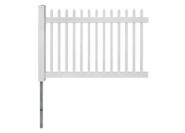 Nantucket Vinyl Picket Fence W Post And No Dig Steel Pipe