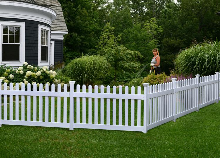 Permanent Newport Vinyl Picket Fence W No Dig Post And Anchor Kit 36in H X 72in