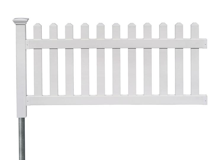 36in High Newport Vinyl Picket Fence W Post And No Dig