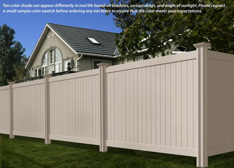 Vinyl privacy fence colors Weathered Cedar 6ft 7ft Steady Freddy Vinyl Fence tan Color Wambam Fence Steady Freddy Vinyl Fence tan Or Almond Color Wambam Fence